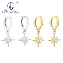 Slovecabin 925 Sterling Silver European Gold Color Starburst Hoop Earrings  Crystal Clear CZ Pave Simple Women Party Jewelry