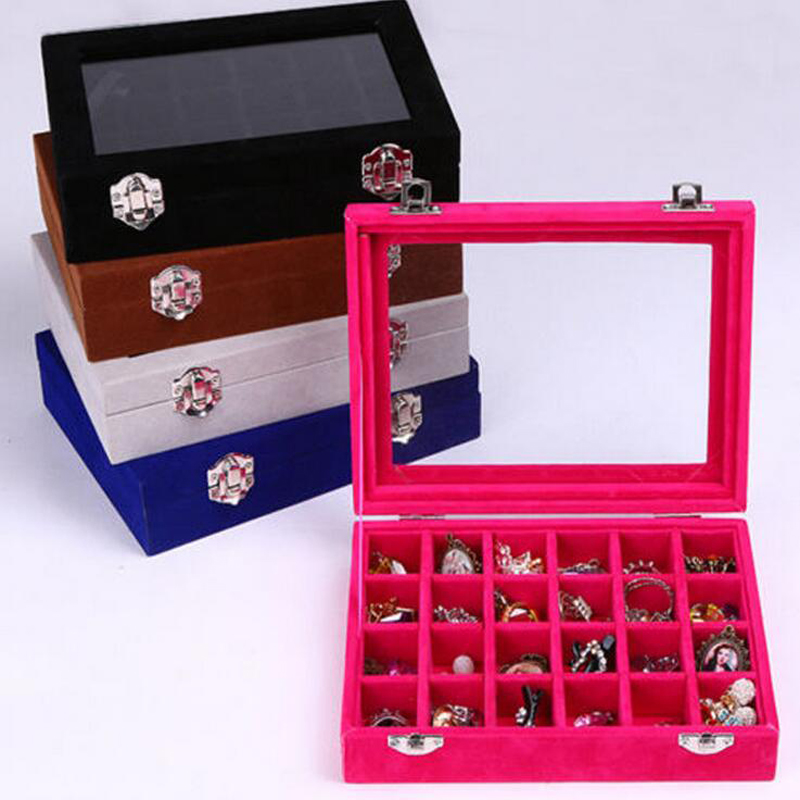 Hot selling many Color Options 24 Grids Ring Box Jewelry Earrings Necklaces Makeup Case Choker Organizer Women Jewellery Storage