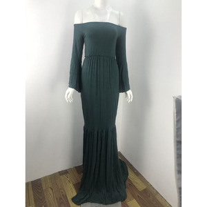 Image 4 - Shoulderless Maternity Dresses For Photo Shoot Maternity Photography Props Maxi Pregnancy Dresses For Pregnant Women Clothes