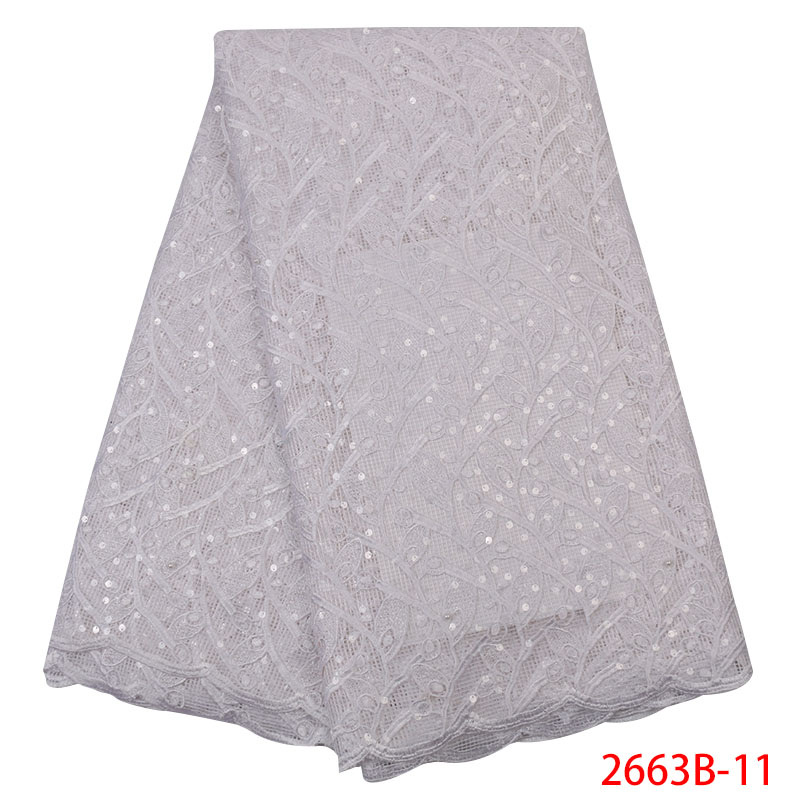 2019 High Quality African Tulle Lace Fabric Latest French Embroidery Lace Fabric With Sequins For Party Dress 5 Yard KS2663B-11