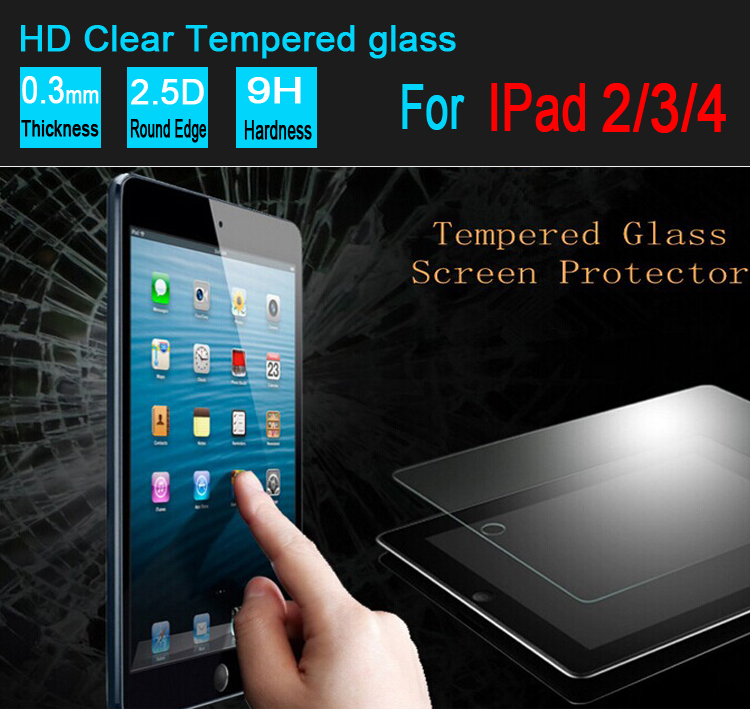 20pcs 0 33mm For Apple ipad 2 3 4 tempered glass screen protector film guard with