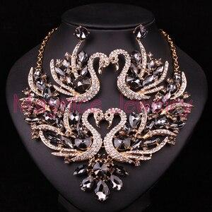Image 3 - יפה קריסטל ברבור כלה תכשיטי סטי תכשיטי שרשרת עגילי סט עבור הכלה מסיבת חתונת תלבושות אביזרי חג המולד מתנה