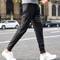 Homens Calças Com Estrelas Streetwear Masculino Calças Basculador Corredores Sweatpants Preto PU de Retalhos De Couro Calças de Rua