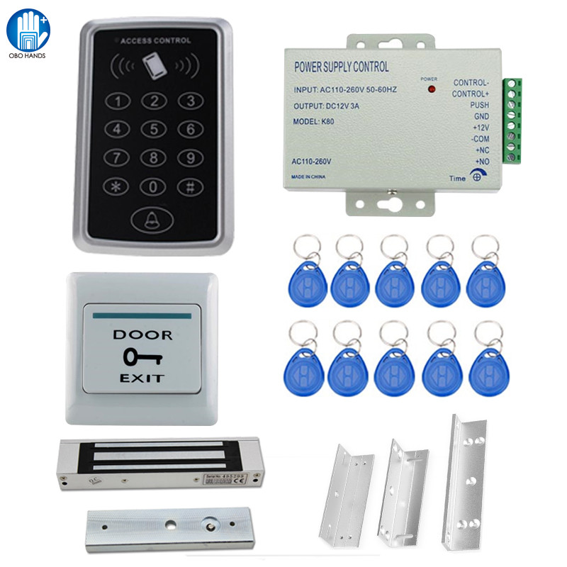 Waterproof RFID Access Controller T11+Electric Control Lock+3A/12V Power Supply+Exit Button+5pcs Key Cards+Door Holder+Bracket full set 125khz rfid access control system kit t11 digital lock 3a 12v power supply electric strike lock 10pcs id key cards