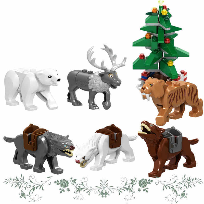 New Animal Series Wolf Elk Model Building Blocks Kit Kids Education Toys Children Birthday Christmas Gifts