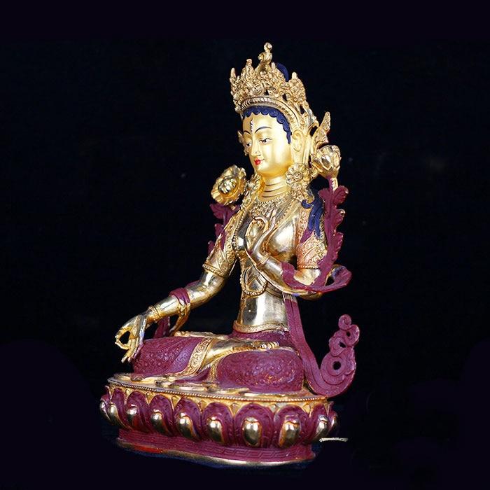 33 CM alto # hogar protección eficaz talismán budismo Bodhisattva Tara Buda blanco dorado bronce la estatua de Buda-in Estatuas y esculturas from Hogar y Mascotas    1