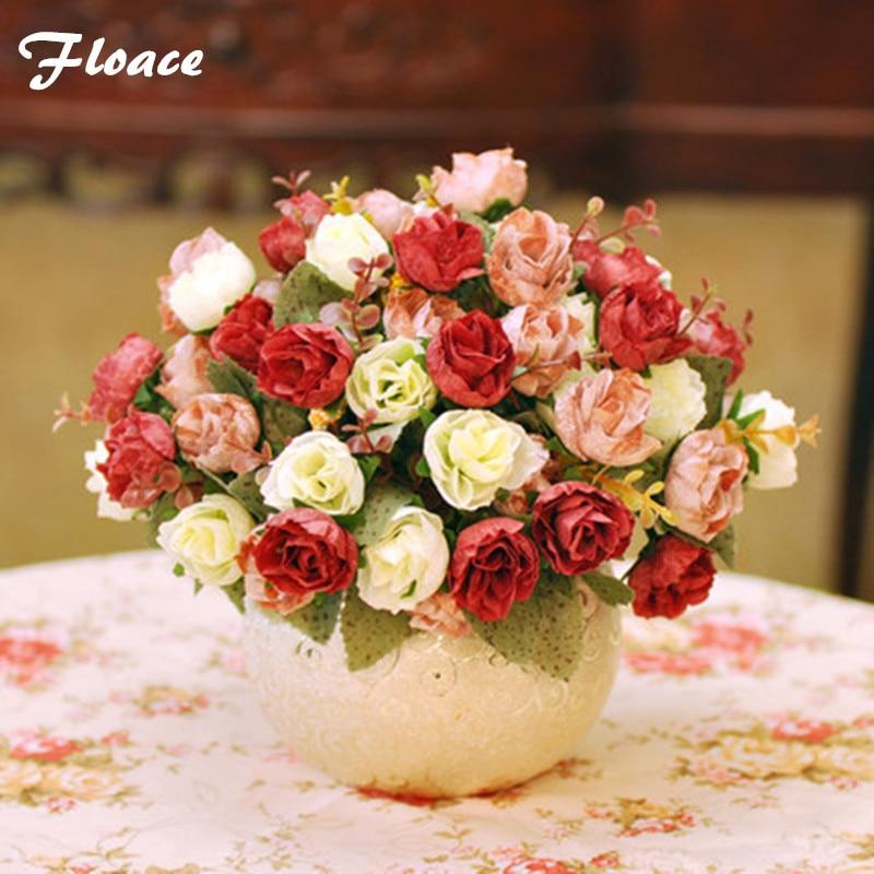 Floace Vysoká umělá květina sada móda umělá květina domácí dekorace růže váza květina