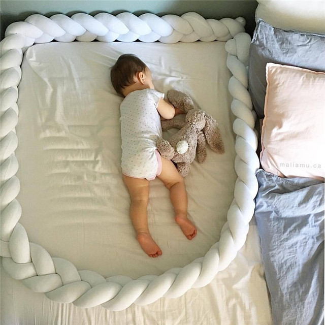 1M/2M/3M Length Newborn Baby Bed Bumper Pure Weaving Plush Knot Crib Bumper Kids Bed Baby Cot Protector Baby Room Decor 4