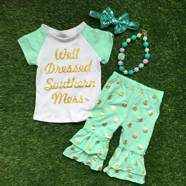 2016 Summer design girls baby style hot gold dot well dressed capri outfit child clothing with matching necklace and bow