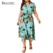 Seluxu 2019 Fashion Plus Size Summer Dress For Women Floral Print Shirt Short Sleeveless