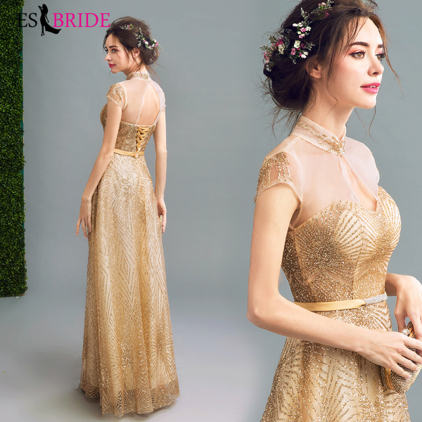Luxury Gold Evening Dresses Special Occasion Dresses Long Evening Gowns For Women Elegant Formal Sleeveless Evening Dress ES2324