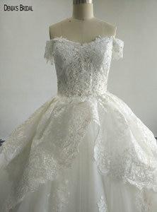 Image 3 - Бальное платье с бисером, кружевные свадебные платья с вырезом сердечком, без рукавов, длиной до пола, красочные свадебные платья 2017