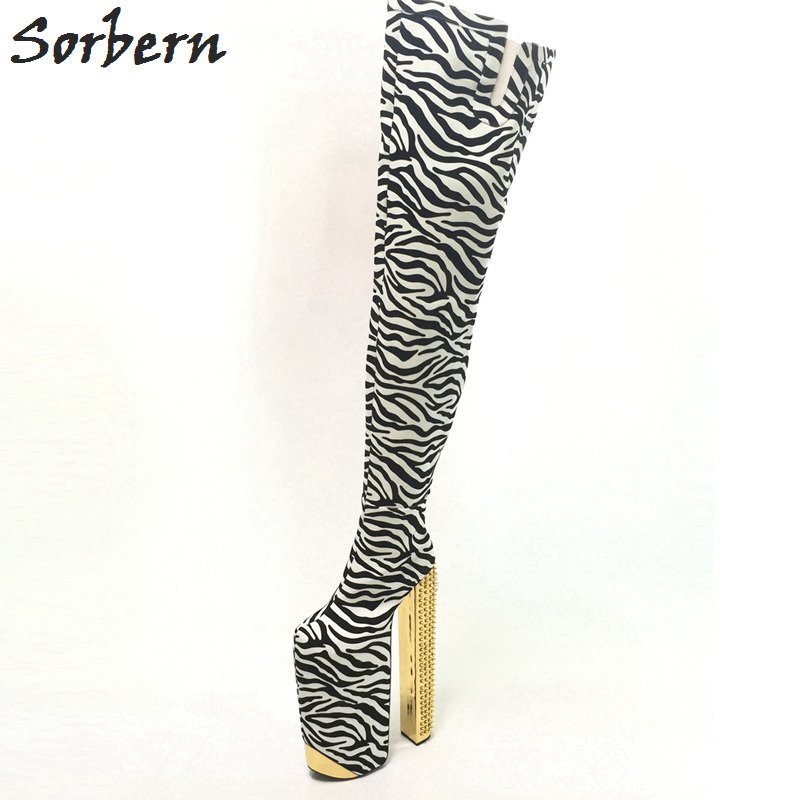 Sorbern Zebra Thigh High Winter Boots Platform Exaggerated Sexy Fetish Shoes Ladies Rivet Chunky Heeled Crotch High Boots 34-46 синий slim robot armor kickstand ударопрочный жесткий корпус из прочной резины для iphone 7 plus