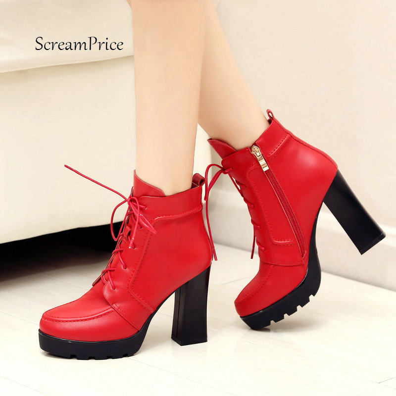 Ladies Genuine Leather Lace Up Thick High Heel Ankle Boots Fashion Round Toe Zipper Winter Women Shoes Black Red ladies genuine leather lace up thick high heel ankle boots fashion round toe zipper winter women shoes black red