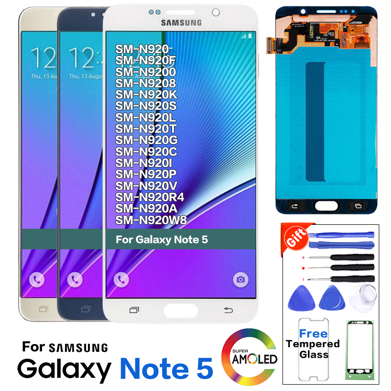 For Samsung Galaxy NOTE 5 N920 N920F LCD Display Touch Screen Digitizer Assembly Note5 Original Replacement 5.7inch LCD+Tools
