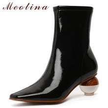Meotina Winter Ankle Boots Women Patent Leather Zip Strange Style Heel Short Boots Transparent Square Toe Shoes Lady Fall 34-43 knsvvli new patchwork patent leather stretch boots woman squaer toe low heel martin boots strange style heel ankle boots women