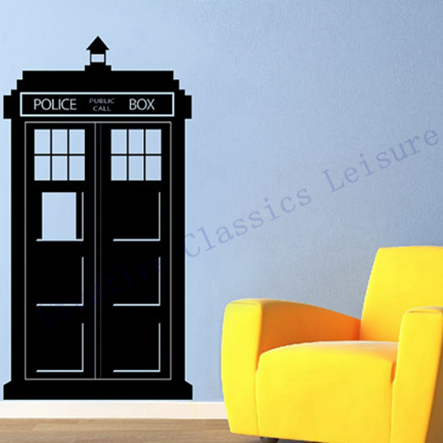 free shipping 108x57cm doctor who tardis wall sticker police box kids wall vinyl decal in wall. Black Bedroom Furniture Sets. Home Design Ideas