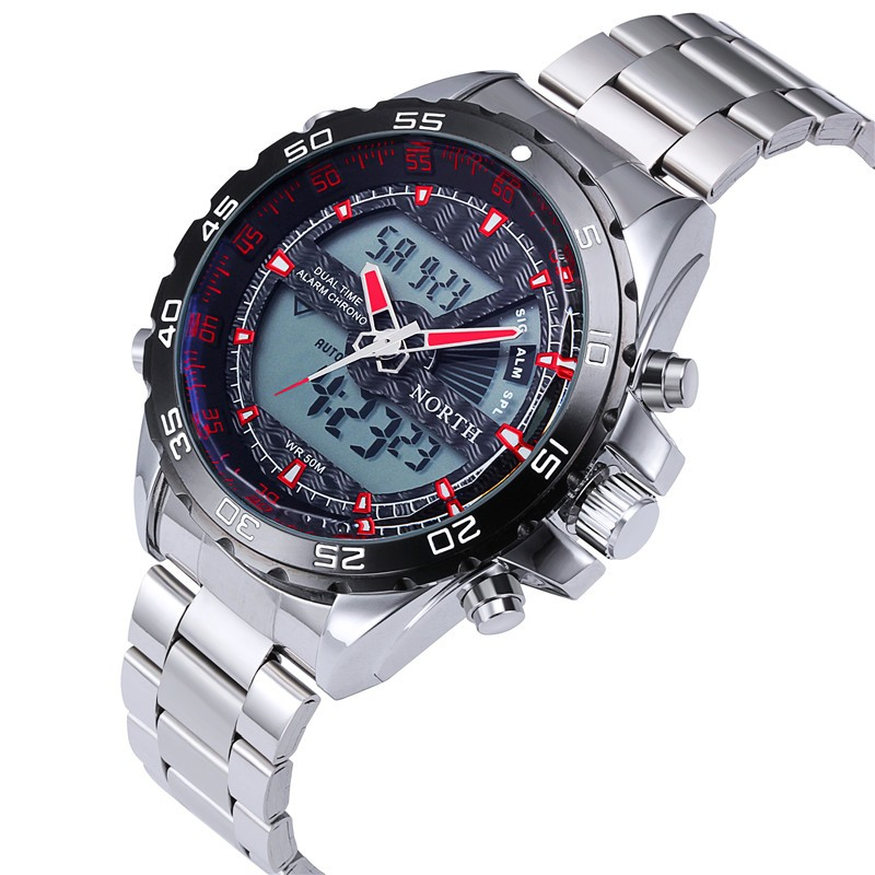 NORTH Luxury Dual Display Men's Watch Men Wrist Watch Analog Digital Sport Watch Clock relogio masculino erkek kol saati