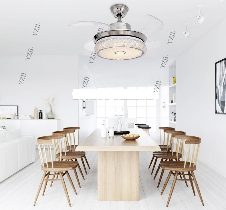 LED Stealth Folding Ceiling Fan Lights Minimalism Modern Living Room Bedroom Dining Light 42inch