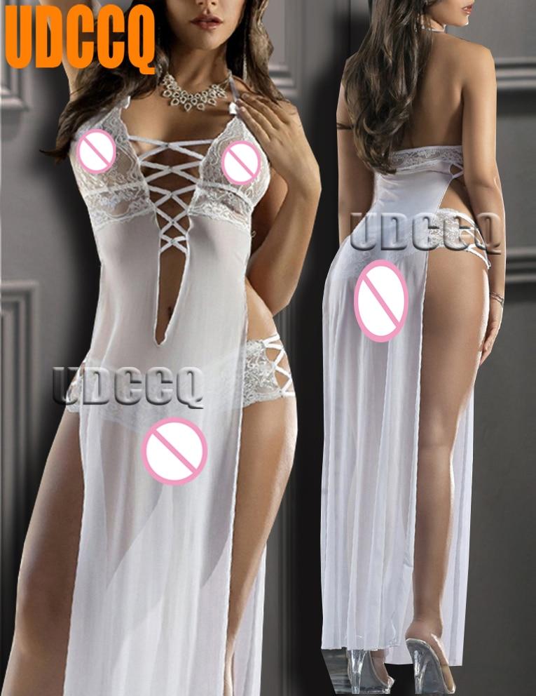 sexy lace long dressing night gown sheer transparent dress evening nightgown nightie sleepwear lingerie Newest split skirt Cospl