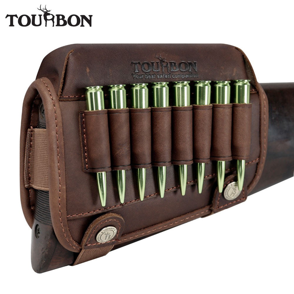 Tourbon Berburu Rifle Buttstock Shooting Cheek Rest Riser Pad Leather With Ammo Cartridges Holder Carrier Gun Accessories