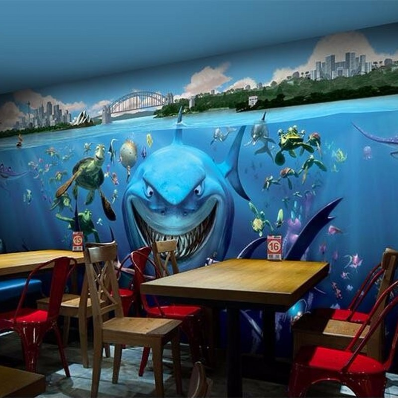 online shop beibehang custom wallpaper underwater world of cartoon shark restaurant kindergarten childrens room wallpaper for walls 3 d aliexpress mobile - Underwater World Restaurant