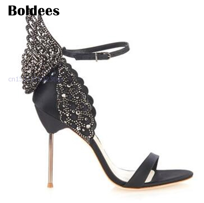 Zapatos Mujer Gorgeous Luxury Women Shoes Butterfly Wings Design Rose Gold Metallic Thin High Heels Sandals Pumps Woman hot metallic gold strappy pompom embellished crystal wooden heel gladiator women sandals women shoes sanglaide zapatos mujer