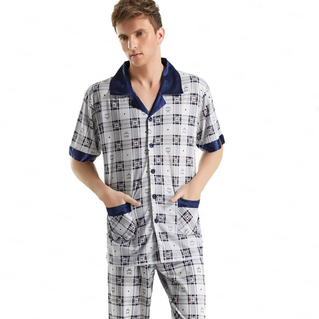 fcd2c38a09 On Sale Short-Sleeved Men s Sleepwear Classic Cotton Plaid Pajama Sets Plus  Size Loungewear Mens