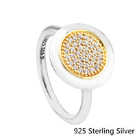 Authentic 925 Sterling Silver Original Bling Signature Ring Charm Clear CZ Fit For DIY Jewelry Women Gift