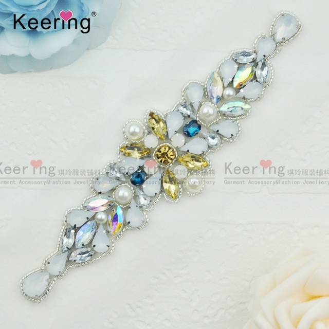 Keering Fashion Pretty Sparkling Crystal Rhinestone Applique For Bridal  Sash WRA-907 2405f6db9505