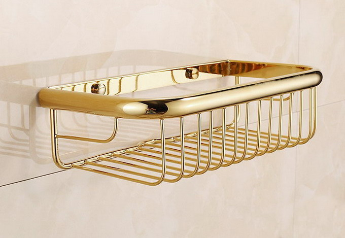 300mm Polished Gold Color Brass Wall Mounted Bathroom Shower Shelf Storage Basket Bathroom Accessory Mba095