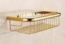 300mm Polished Gold Color brass Wall Mounted Bathroom Shower Shelf Storage Basket Accessory mba095