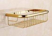 300mm Polished Gold Color brass Wall Mounted Bathroom Shower Shelf Storage Basket Bathroom Accessory mba095 стоимость