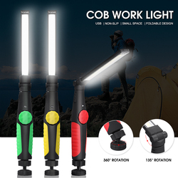 USB Rechargeable COB LED Flashlight Torch Magnetic COB Work Light Stepless Dimming Magnet Lamp 18650 Battery For Outdoor Camping