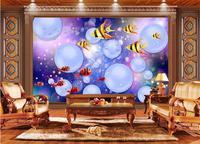 3d пользовательские Фото Фреска 3d обои синий мяч тропический морской рыбы украшения живопись 3d настенные фрески обои для стен 3 D