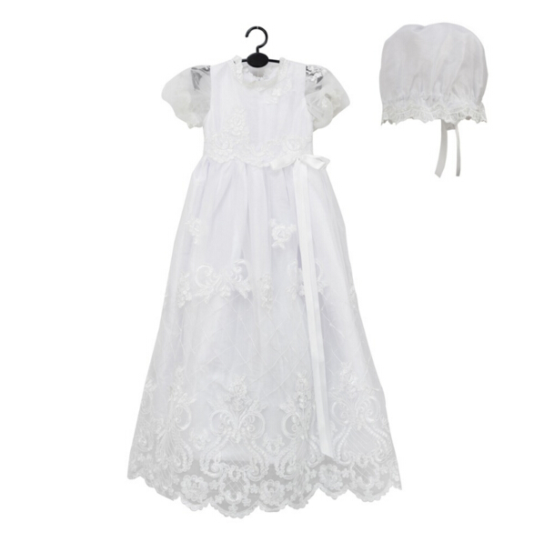 2016 New High Quality Baptism Baby Infant Christening Gowns Long Dress Princess First Communion Dresses WITH BONNET 0-24month white ivory lace infant baptism baby girl christening gowns long dress princess first communion dresses with bonnet