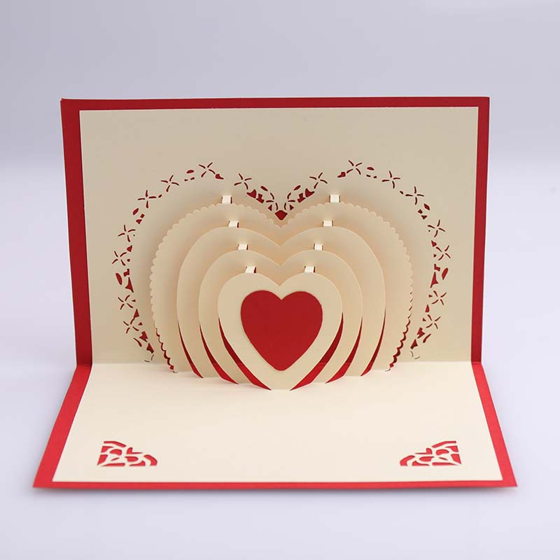 3D Love Pop Up Heart Greeting Cards Wedding Invitation Card Anniversary Gifts 2015 Hot