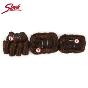 Image 2 - Sleek Colorful Hair Ombre Bundles Piano P4/30 Brazilian Hair Weave Bundles Glam Short 3PCS Curly Remy Human Hair Extensions