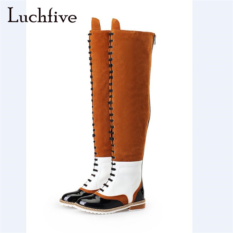 Kid suede sexy chains over the knee boots round toe lace up patchwork shoes woman low heels back zipper khaki boots womenKid suede sexy chains over the knee boots round toe lace up patchwork shoes woman low heels back zipper khaki boots women