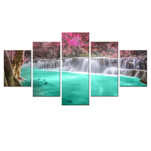 Framed 5 Panels Green Waterfall Scenery Canvas Print Painting Modern Wall Art for Pcture Home Decor Artwork DC1-26