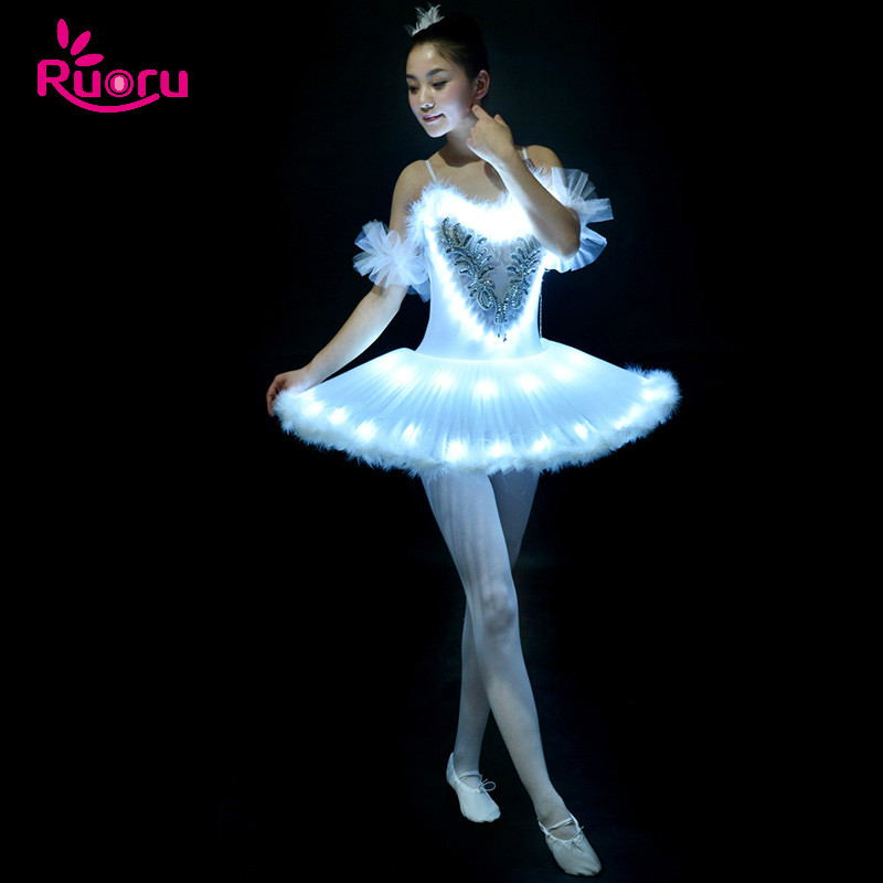 Ruoru Professional Ballet Tutu LED Swan Lake Adult Dance Clothes Skirt Women Ballerina Dress for Party girls