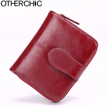OTHERCHIC Real Leather Women Short Wallets Small Wallet Zipper Coin Pocket Credit Card Wallet Female Purses Money Clip 5N12-03