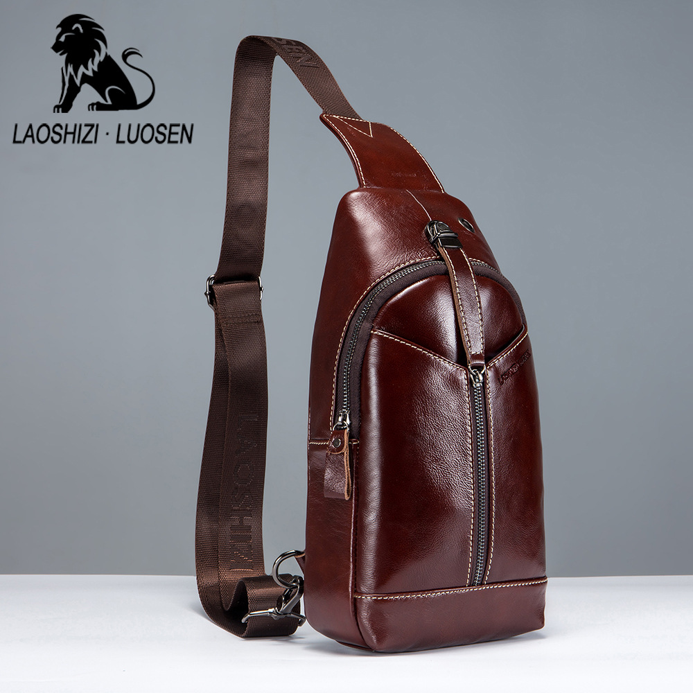 Vintage Genuine Leather Men Oil Wax Leather Bags Handbag Chest Pack Casual Vintage Male Shoulder Crossbody Bags Travel Chest Bag браслеты page 9