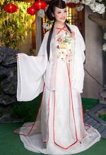 High End Quality Costume tang suit hanfu cosplay female costume white Chinese Folk Dance vetements de
