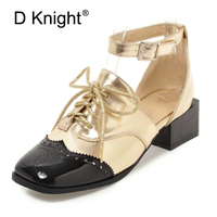 2018 Spring Fashion Women High Heel Shoes Patent Leather Square Toe Gold Silver Spell Color Ankle Strap Oxfords Shoes For Women