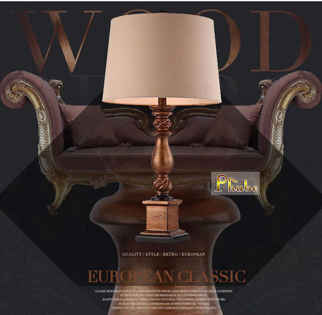 American Style Modern Resin Table Lamp Bedside Table Lamp With Beautiful Fabric Shade Guaranteed 100%+Free shipping!