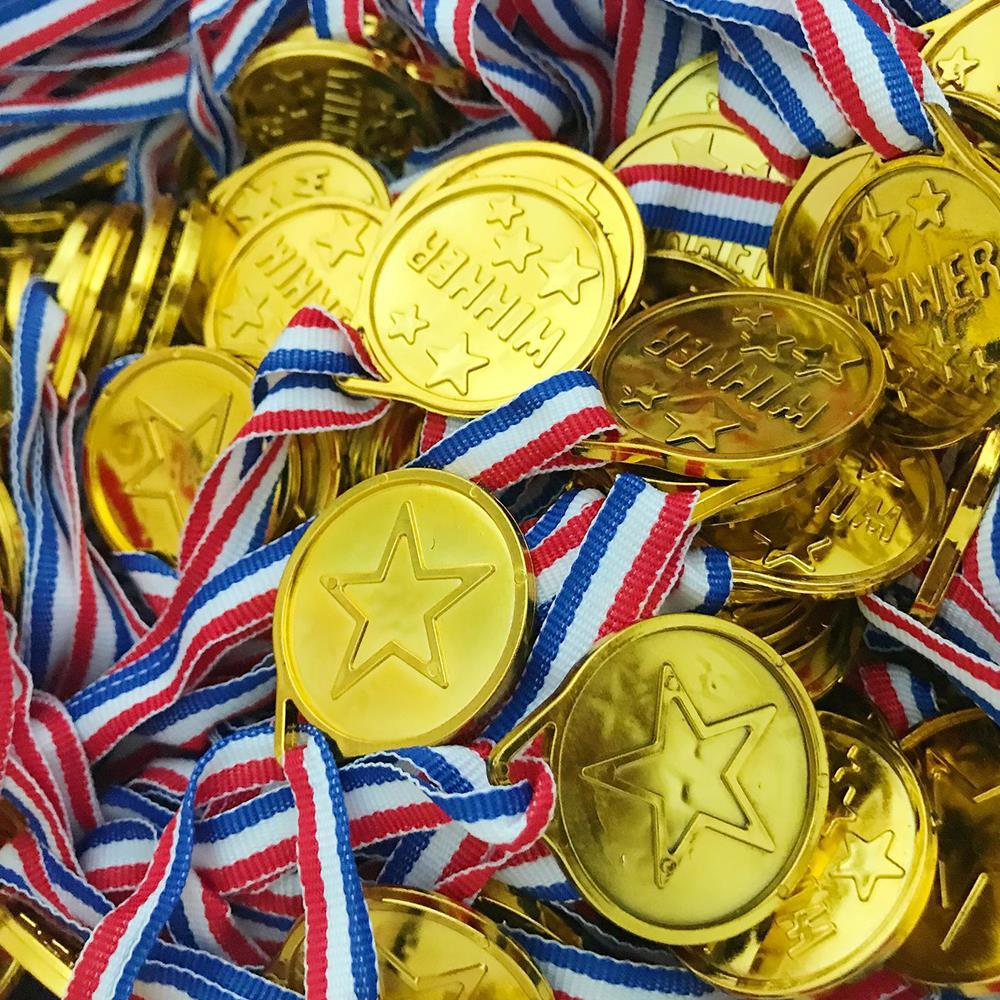 Children Winner Gold Medals Favours Sports Day Games Prizes Party Bag Filler Toy