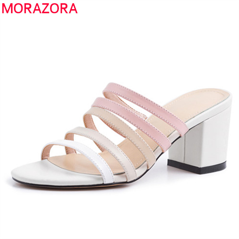 MORAZORA 2019 top quality genuine leather shoes women sandals hollow out summer high heels shoes ladies party prom shoes woman MORAZORA 2019 top quality genuine leather shoes women sandals hollow out summer high heels shoes ladies party prom shoes woman