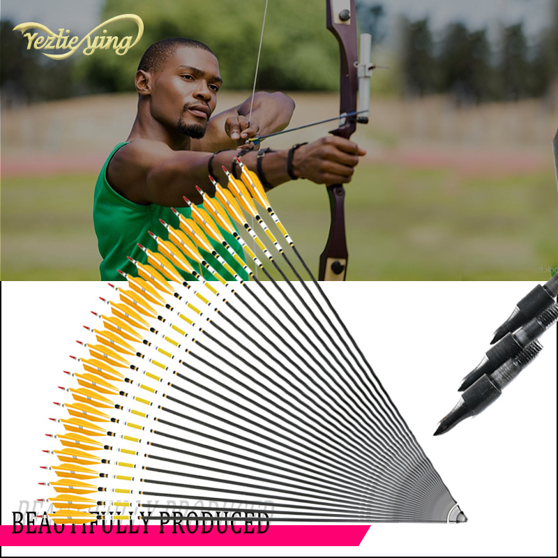 12/24PCS 31 Inch Carbon Arrows Yellow Turkeys Feathers for 20 50lbs Longbow /Recurve Bow Outdoor Hunting Archery-in Bow & Arrow from Sports & Entertainment