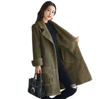Faux Suede Lambs Wool Jacket Women Cotton Wadded Winter Jacket Women Elegant Long Parka Manteau Femme